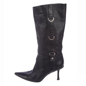 Black Mid Calf Leather Jimmy Choo Boots❣️